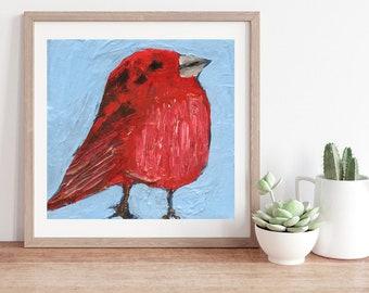 Summer Tanager Bird Unframed Prints - Cute Birthday Gifts. 82