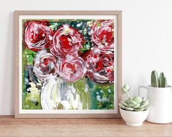 Unframed Pink Roses Flower Print Chartreuse Sweetness & Light