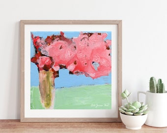 Pink Roses Abstract Farmhouse Flower Painting Unframed Print No 341