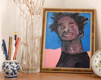 Handsome Young Black Boy Portrait Painting Unframed Print - Katie Jeanne Wood