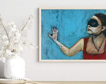 Masquerade Mask Unframed Portrait Painting Print