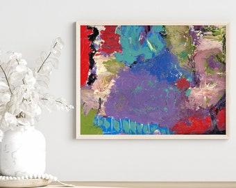 Purple Teal Dark Abstract Unframed Painting Print, Bedroom Print, Living Room Print