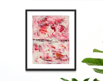 Pink Swirly Abstract Painting Print on Paper or Canvas Wall Art Decor Prints
