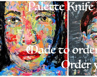 Custom Portrait Painting From Photo. Impasto Impressionistic Knife Painting. Made to Order. Christmas Gift For Her or Him. Katie Jeanne Wood