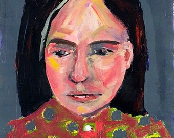 Oil Portrait Painting Woman - Worried About the Future