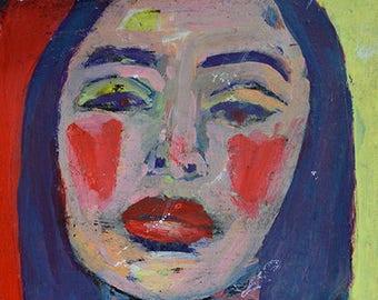 Gifts under 15. Woman Portrait Painting Print. Red Hearts. Katie Jeanne Wood. Secret Santa Gift.