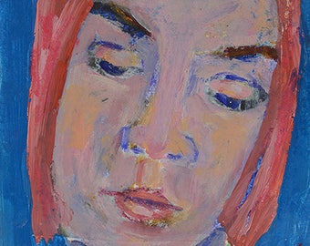 Pink & Blue Girl Portrait Painting Print. Digital Prints. Apartment Wall Print.
