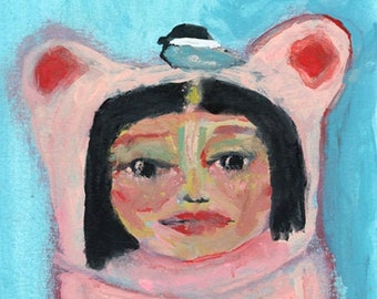 Clearance Sale - Pink Girl Bear & Chickadee Bird Animal Painting - Extension of Herself