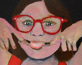 Sassy Little Girl Prints - Portrait Painting Humorous Unframed Print
