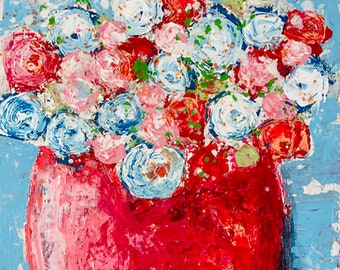 Red & White Roses Flower Canvas Painting, Living Room, Dining Room Wall Art No 317