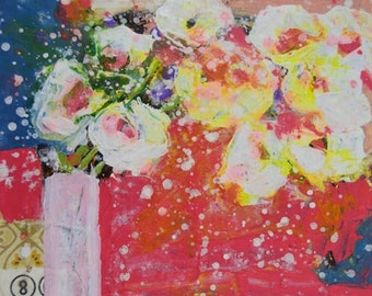 Clearance Sale - Pink & Red Acrylic Floral Painting No 268