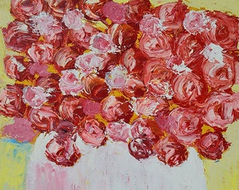Yellow & Pink Flower Roses Painting, Farmhouse Style Floral Canvas Painting, Bright Cheerful Flower Art Painting No 112