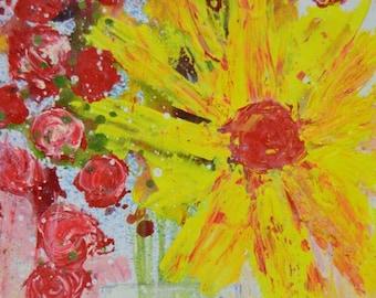 Yellow Daisy Painting, Pink Roses Art No 206