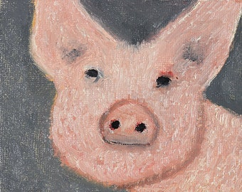 Little Pink Pig Painting Original Miniature Oil Painting. Young Child Piggy Wall Painting. Gift For Art Lover.