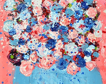 Blue & Pink Flower Painting, Farmhouse Style Painting No 304