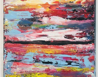Acrylic Abstract Painting, Original Abstract, Living Room Wall Art, Abstract Artwork on Canvas, Rainbow Colors
