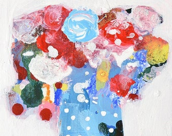 Colorful Blue Mini Floral Painting, Polka Dots, Abstract Flower Art Painting No 316