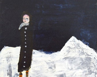 Figure Winter Snow Unframed Painting Print - Secluded in the Mountains