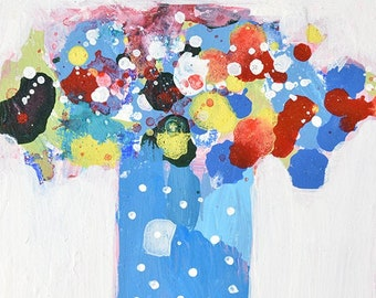 Blue Polka Dots Abstract Flower Art Painting No 314