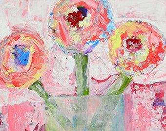 Shabby Chic Floral Wall Art Decor, Original Acrylic Flower Painting, Katie Jeanne Wood No 324