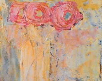 Floral Gift For Her Pink Roses Unframed Flower Print - Floral No 94