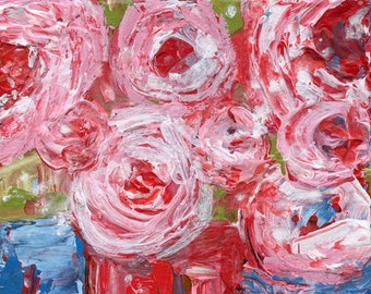 Pink Abstract Rose Flower Art, Farmhouse Canvas Painting - We're Not Alone