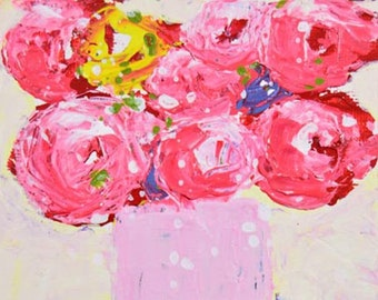 Clearance Sale - Pink Floral Roses Polka Dots Painting Original, Mini Flower Painting No 155