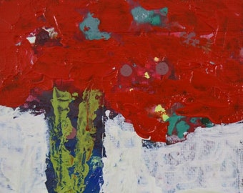 Red Abstract Roses Floral Art Palette Knife Painting No 70