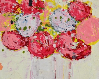 Clearance Sale - Pink & Red Floral Roses Painting No 156