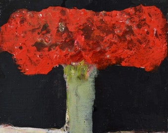 Red Acrylic Abstract Floral Art For Office No 248