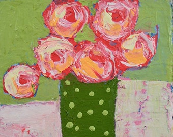 Clearance Sale - Pink Roses Green Floral Original Painting Miniature No 89