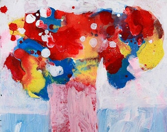 Clearance Sale - Red Abstract Floral Painting, Abstract Flower Painting No 327
