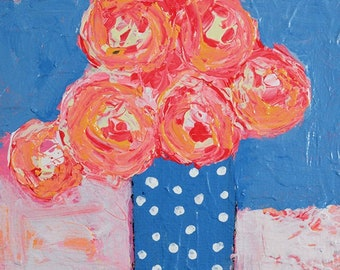 Clearance Sale - Pink & Blue Roses Floral Polka Dots Painting, Mini Flower Painting No 284