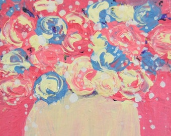 Clearance Sale - Pink & Blue Roses Floral Painting No 41