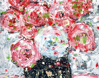 Palette Knife Flower Painting, Original Roses Floral  Painting No 177