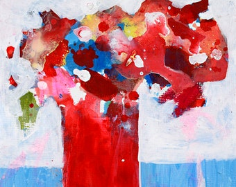 Red White Blue Abstract Flower Art Painting No 330