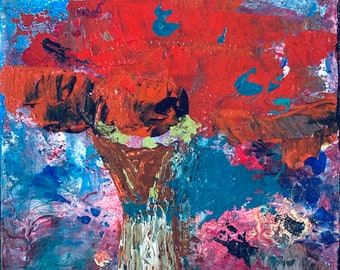 Red Poppy Floral Canvas Art - Palette Knife Painting No 28