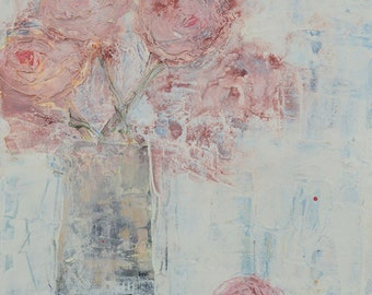 Pale Pink Roses Unframed Print Floral Housewarming Gift for Her No 97
