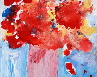 Clearance Sale - Red Abstract Floral Painting No 236