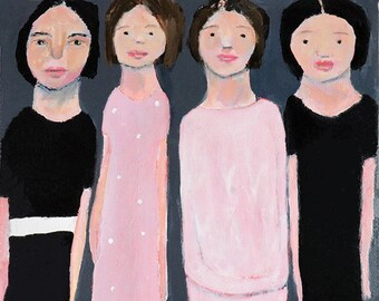 Gathering Sisters Birthday Gift. Acrylic Figure Painting. Painting Gift for Women. Sisters Art Gift. Home Office Wall Decor. Friend Gift.