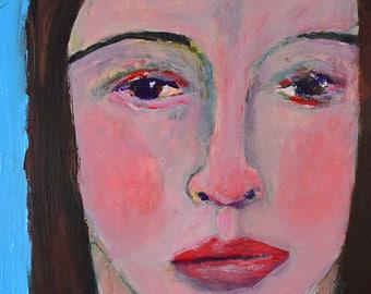 Expressive Woman Portrait Painting Print. Digital Wall Art Prints. Soulful Portrait Print. Home Wall Decor