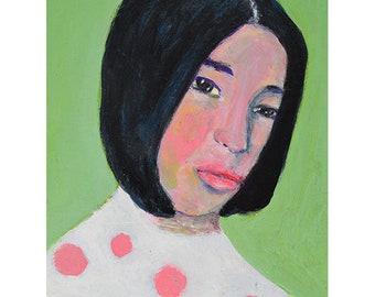 Pink Polka Dot Girl Portrait Painting Print. Home Wall Art Prints. Digital Print. Apartment Wall Print.