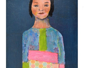 Colorful Blue Girl Figure Painting with Green & Pink Color Blocking. Made to Order Home Wall Art Print by Miz Katie