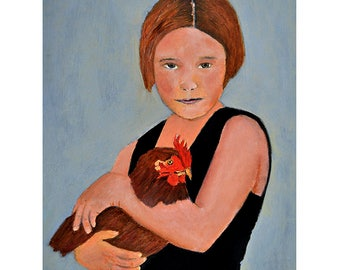 Oil Portrait Painting Original Art. Girl & Chicken Painting. Home Wall Decor