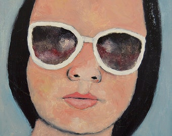 Oil Portrait Painting. Woman Wearing White Sunglasses. Original Small Art. Apartment Wall Art Decor.