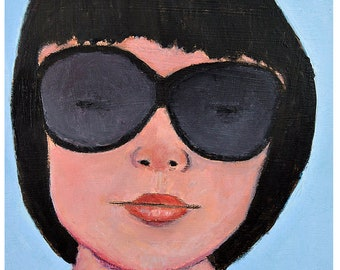Oil Portrait Painting. Woman Wearing Dark Sunglasses. Original Small Art. Apartment Wall Art Decor.