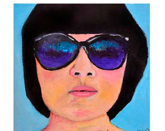 Oil Portrait Painting. Original Woman Sunglasses Art. Sunnies. Home Wall Art Decor. Birthday Gift. Portrait Wall Decor. Woman in Oils