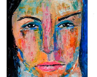 Colorful Intense Woman Portrait Art Expressionism Painting Bedroom Wall Art Decor