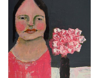 Woman & Pink Roses Portrait Painting Print. Woman Figure Art. Pink Gray Home Wall Hanging. Wall Art Prints