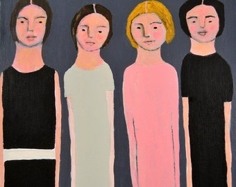 Acrylic Women Portrait Figure Painting. Table for Four. Painting Gift for Women. Sister Art Gift. Home Office Wall Decor.
